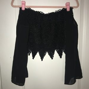 Black Lace Off the Shoulder Crop Top